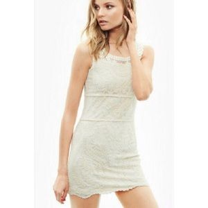 [Express] Lace Sleeveless Dress White Lined Small